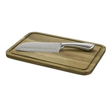 קרש חיתוך איכותי עשוי במבוק + סכין סנטוקו