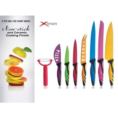 סט 8 סכיני חיתוך צבעונייים