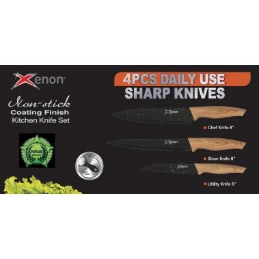 סט סכינים מהודר עם ידית דמוי עץ
